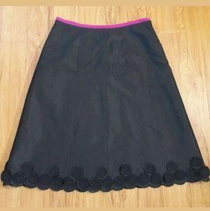 Perry Ellis Womens Black A-line Skirt 100% Silk